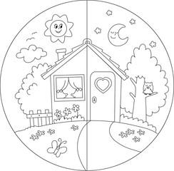 Casa di campagna giorno e notte da colorare per bambini.