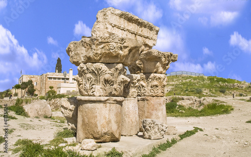Ruins located in Amman Citadel, Jordan, Middle East.