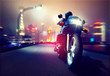 canvas print picture - Motorbike in front of a Skyline