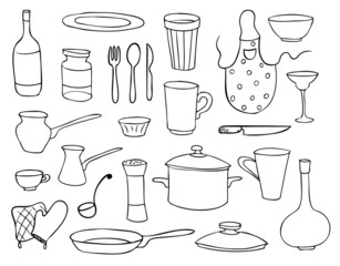 household objects and dishes vector set