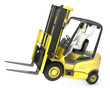 Abstract white man in a fork lift truck, balancing on rear wheel