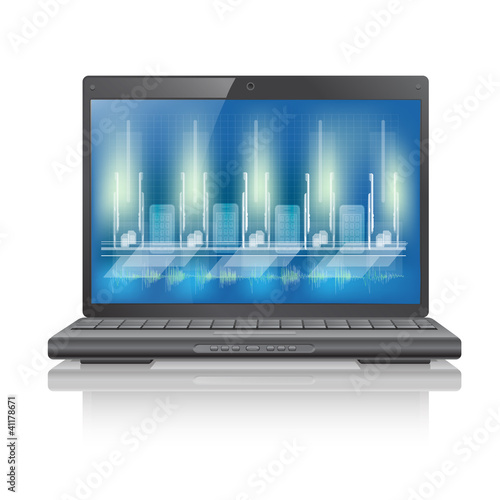 Laptop computer with blue background on monitor
