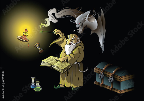 A wizard summoning ghostly demon, vector