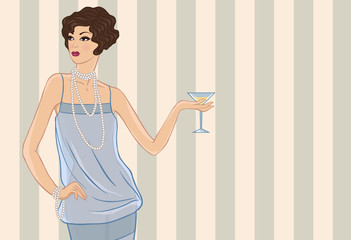 Retro party girl. Vector illustration for your design.
