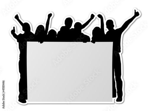 Menschen mit weißem Plakat
