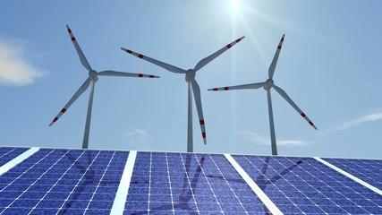 Animierte Windräder mit Solarzellen (HD 1080p,30 FPS)