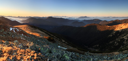 Mountain panorama at sunset with path - Low Tatras ini Slovakia