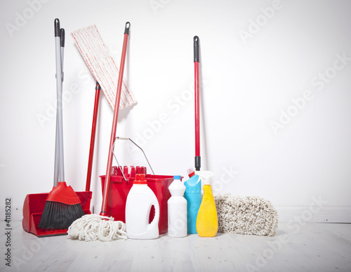 Collection of cleaning products