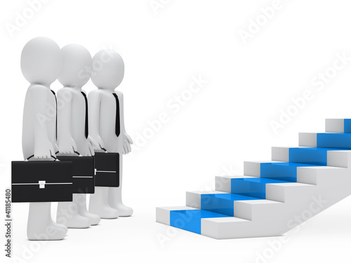 businessmen stand before steps