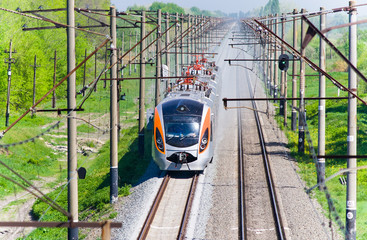 Modern fast passenger train in Ukraine