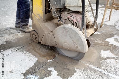 Construction site asphalt or concrete cutting - 41186465
