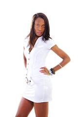 Beautiful ethnic woman in white dress