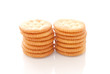 Stack of Butter Crackers against white background