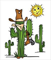 Cactus del desierto con el Sol