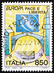 Postage stamp Italy 1995 Stars of European Flag, Church and Mosq
