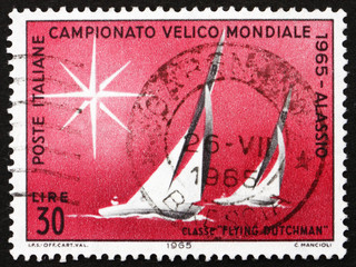 Postage stamp Italy 1965 Sailboats of Flying Dutchman Class