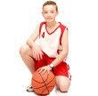 Boy athlete with the ball
