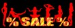 The word SALE and silhouettes of girls on a black background
