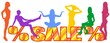 Word SALE and multi-colored silhouettes of girls