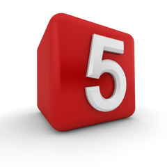 Red 3D block with number five
