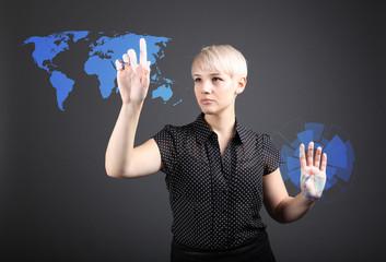 World business concept - woman touching screen