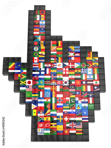 Abstract 3d cursor with flags of the world