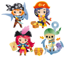 Cute cartoon pirates Set 2