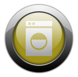 "Yellow Metallic Orb Button ""Laundromat"""