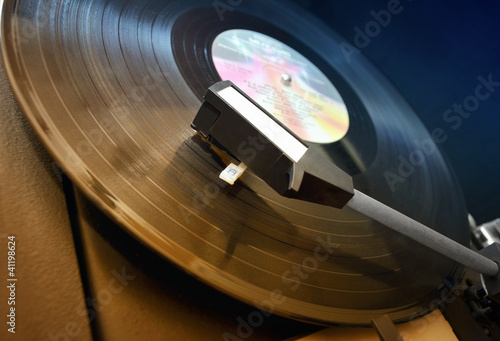 Vinyl player close up