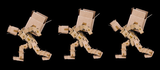 Three box men lifting heavy boxes on black background