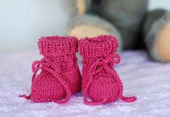 Pink baby booties