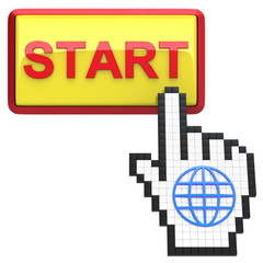 Start button and hand cursor with icon of the globe.