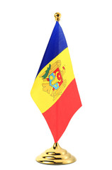 Flag of the Moldova hanging on the gold flagpole