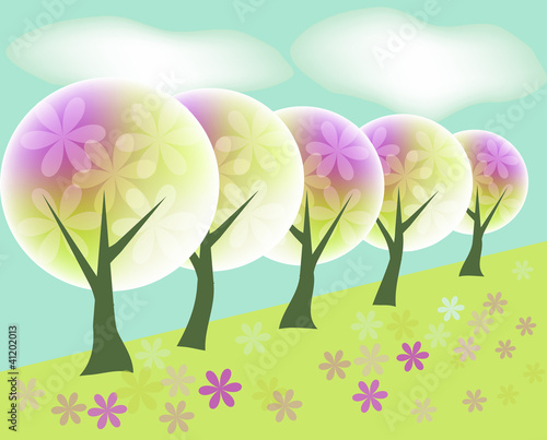 Landscape background with abstract trees and flowers