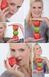 Montage of woman holding red and green apples