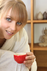 Woman with a hot drink