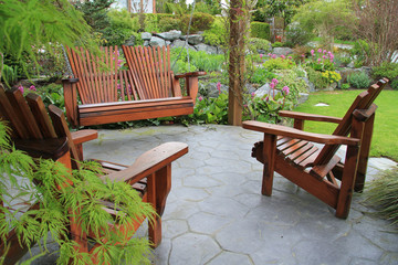 Patio furniture in the garden.