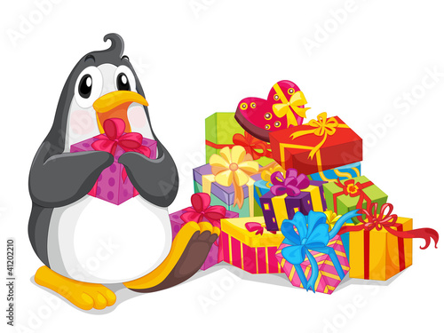 Penguin with gifts