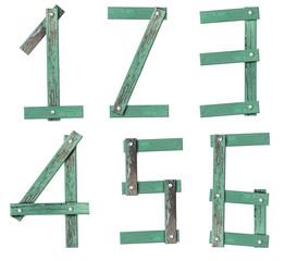 Old Grunge Wooden Alphabet number