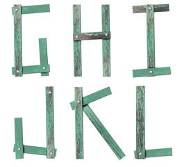 Old Grunge Wooden Alphabet,