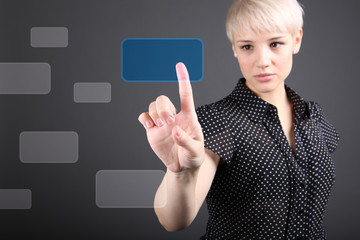 decision making concept - business woman touching screen