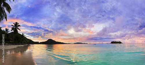 Tropical beach Cote d'Or at sunset, Seychelles