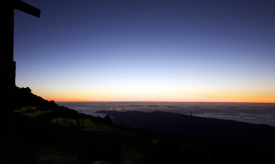 View of sunrise on top of Volcano teide in Spain