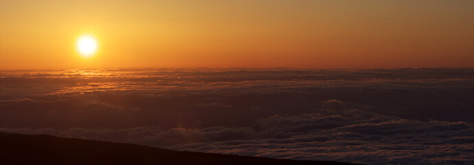 Sunsent on top of Mount Teide in Spain