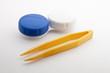 Contact lens case  and tweezers