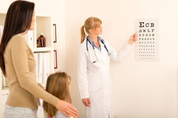 Pediatrician pointing eye-chart at medical office