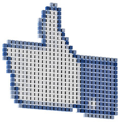 pixeled thumbs up internet symbol isolated on white
