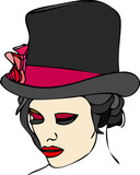 Portrait of woman with top hat