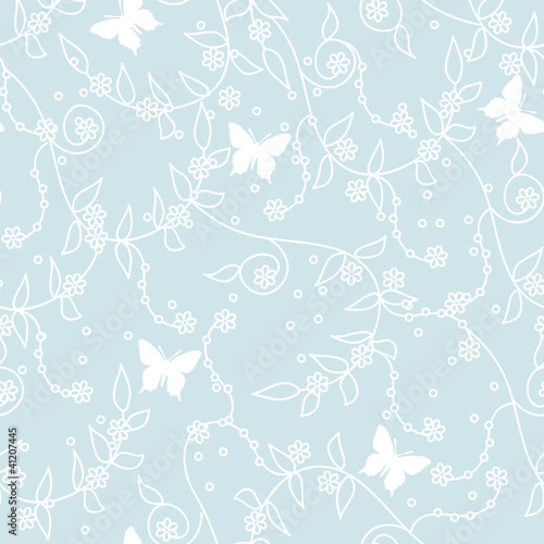 seamless blue seasonal floral background with butterflies