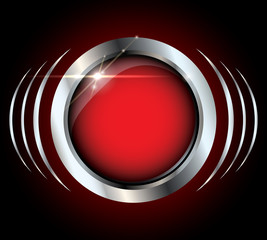 Red metallic glossy vector button with copyspace